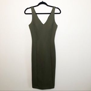 Metaphor Womens Olive Bodycon Midi XS Dress